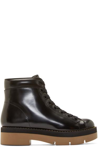 Alexander Wang - Black Leather Platform Genevieve Boots