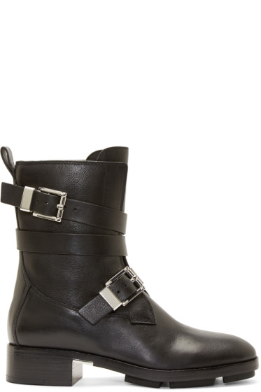 Alexander Wang - Black Leather Motorcycle Louise Boots