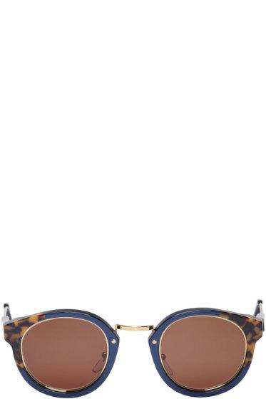 Super - Navy & Brown Print Panama Costiera Sunglasses