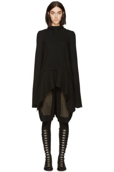 Rick Owens - Black Wool Lapel Coat