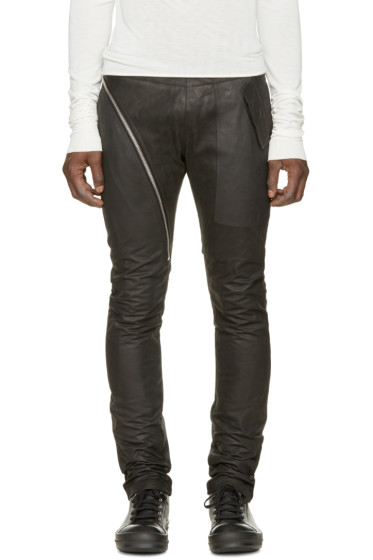 Rick Owens - Black Leather Aircut Travel Trousers