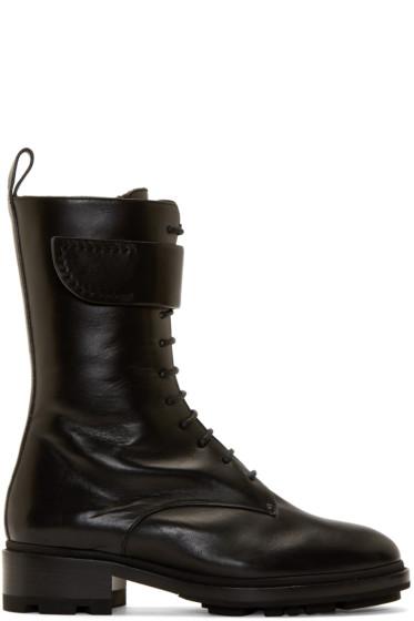 Jil Sander - Black Shearling Lace-Up Boots