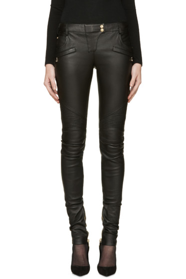 Balmain - Black Leather Biker Pants