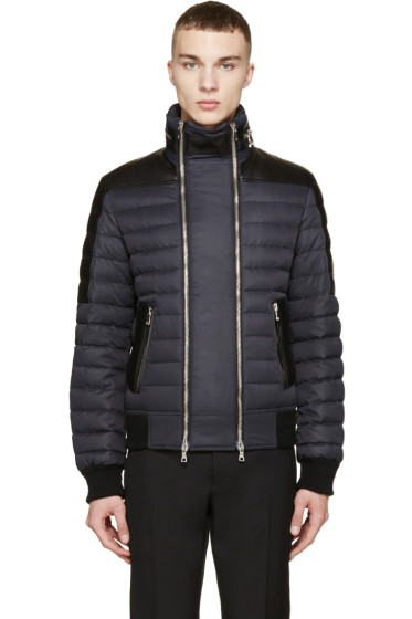 Balmain - Black Leather-Trimmed Down Jacket