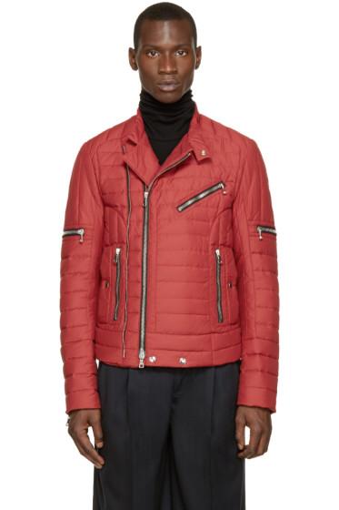 Balmain - Red Quilted Biker Jacket