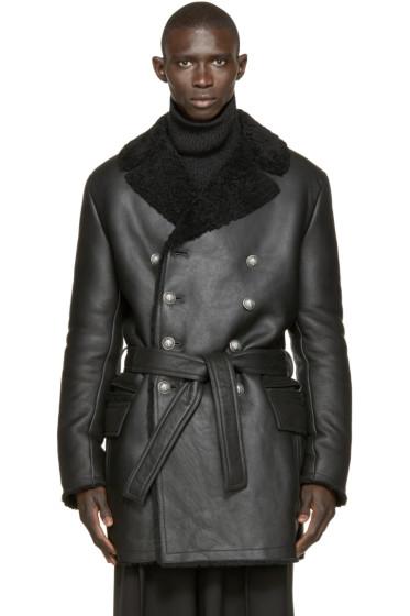 Balmain - Black Double-Breasted Shearling Coat