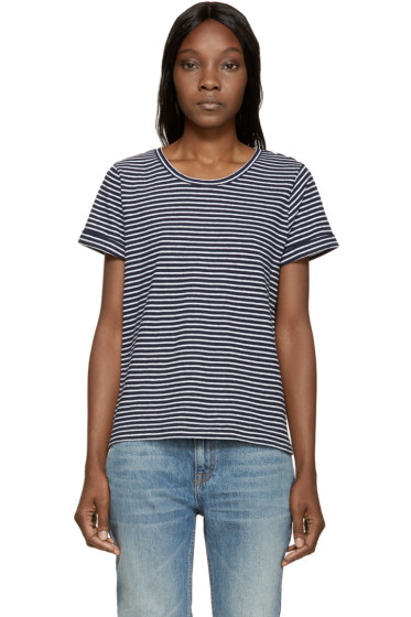 A.P.C. - Navy & White Striped Linen T-Shirt