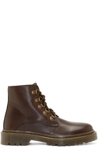 A.P.C. - Brown Leather Alpine Boots