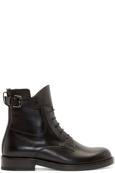 Lanvin - Black Lace-Up Biker Boots