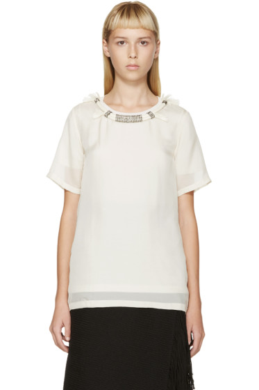 Lanvin - Cream Rope Collar Silk T-Shirt