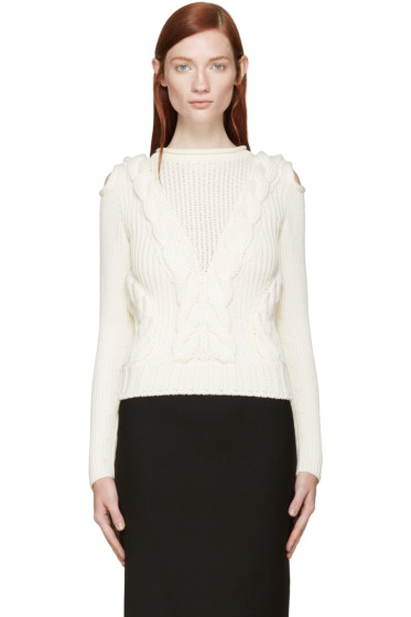 Alexander McQueen - Ivory Cut-Out Shoulder Knit Sweater
