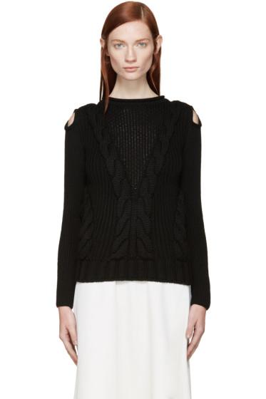 Alexander McQueen - Black Cut-Out Shoulder Knit Sweater