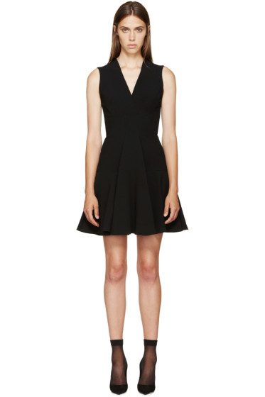Alexander McQueen - Black V-Neck A-Line Dress