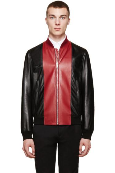 Alexander McQueen - Black & Red Leather Bomber Jacket
