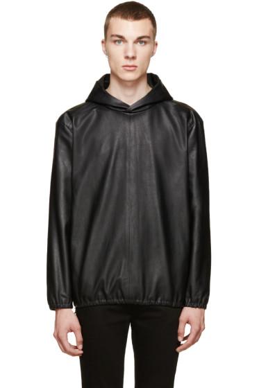 Paul Smith - Black Leather Side-Zip Hoodie