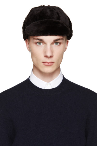 Paul Smith - Black Sheepskin Trapper Hat