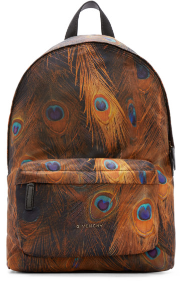 07bba29bdc90 Givenchy Multicolor Feather Print Backpack