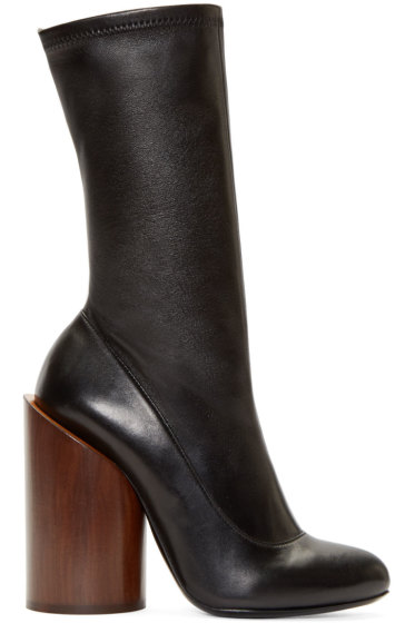 Givenchy - Black Leather Wooden Heel Show Boots