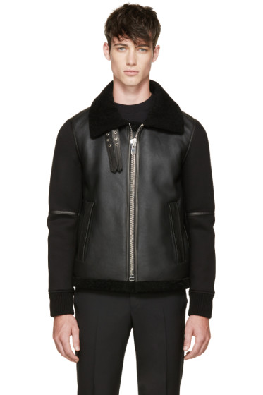 Givenchy - Black Shearling & Neoprene Biker Jacket