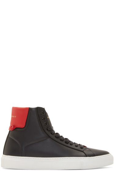 Givenchy - Black & Red Leather High-Top Sneakers