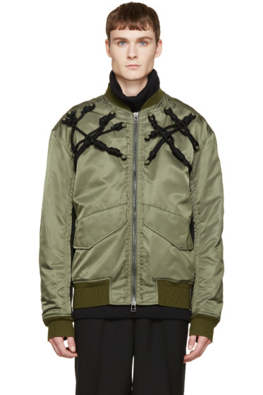 3.1 Phillip Lim - Green Knotted Harness Bomber Jacket