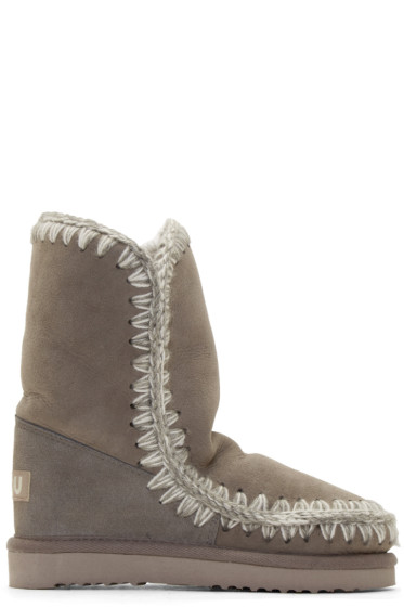 Mou - Light Grey Shearling Eskimo Boots