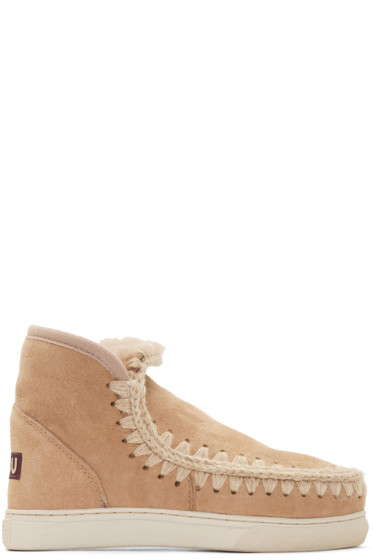 Mou - Tan Shearling Mini Eskimo Boots