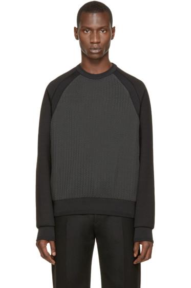 Juun.J - Black & Grey Chevron Pullover
