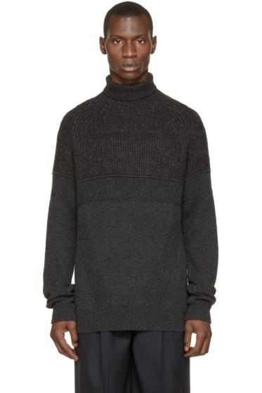 Juun.J - Grey Ribbed Wool Turtleneck