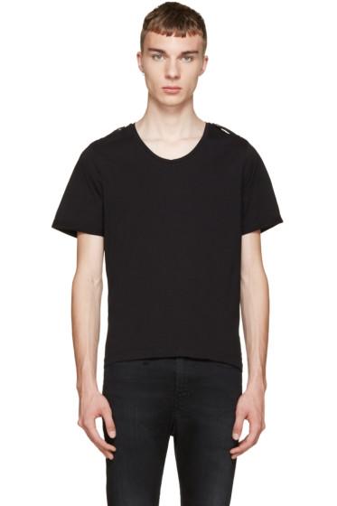 Pierre Balmain - Black Epaulet T-Shirt