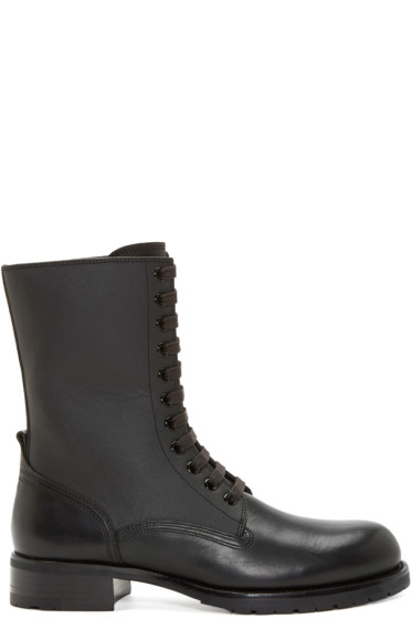 Pierre Balmain - Black Leather Panelled Combat Boot