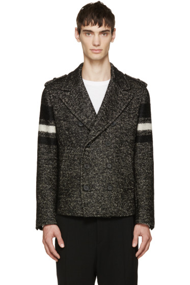 Neil Barrett - Black Marled Knit Wool Peacoat