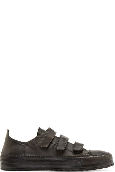 Ann Demeulemeester - Black Leather Velcro Sneakers