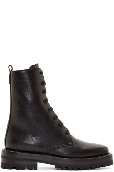 Marni - Black Leather Combat Boots