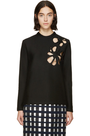 Marni - Black Embroidered Cut-Out Pullover