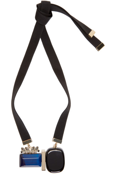 Marni - Blue Resin & Horn Necklace