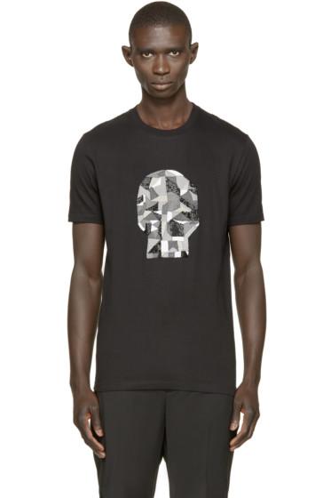 Markus Lupfer - Black Beaded & Embroidered Skull T-Shirt