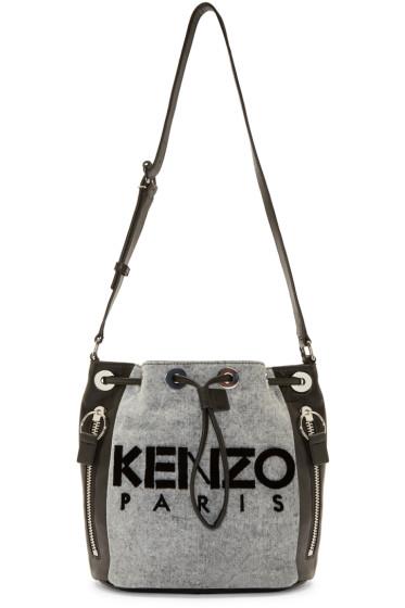 Kenzo - Black & Grey Denim Bucket Bag