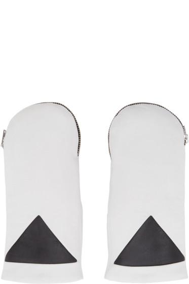 Kenzo - White Rabbit Fur Zip Mittens