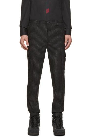 Kenzo - Black Pinstripe Cargo Trousers