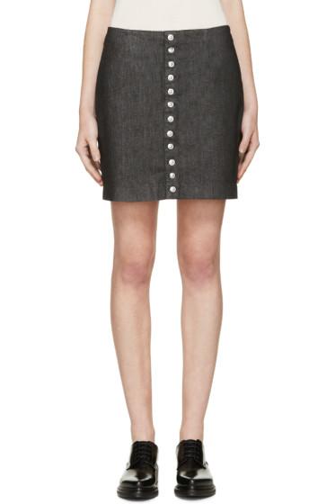 Versus - Black Button Denim Skirt