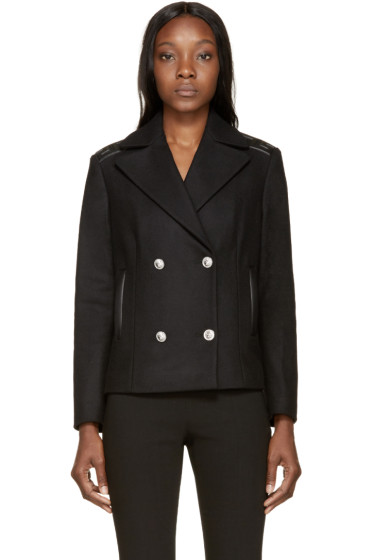 Versus - Black Wool Greek Key Jacket