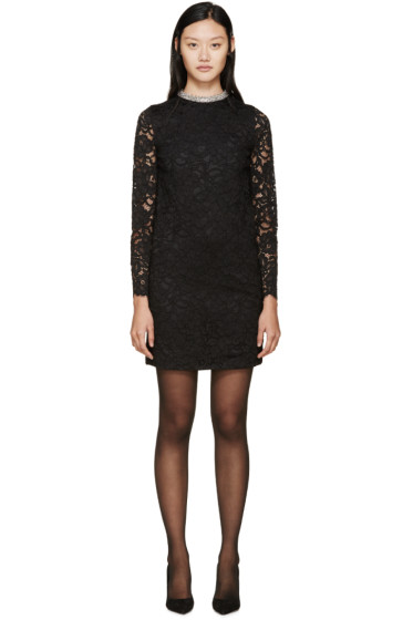 Saint Laurent - Black Lace Beaded Collar Dress
