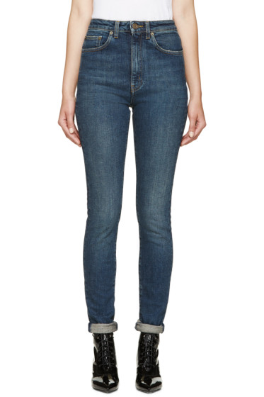 Saint Laurent - Blue High-Waisted Skinny Jeans