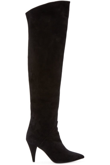Saint Laurent - Black Suede Over-the-Knee Cat Boots