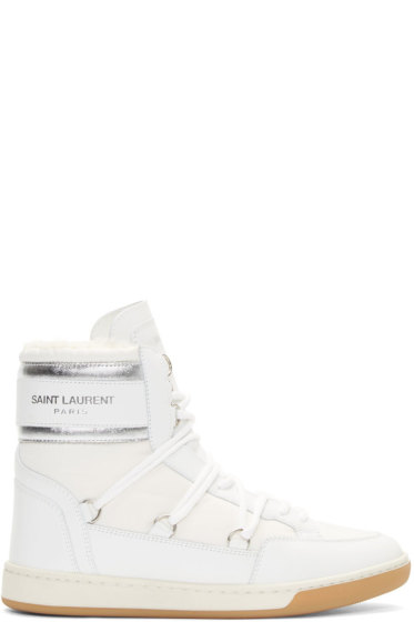 Saint Laurent - White Sherpa-Lined Winter Sneakers