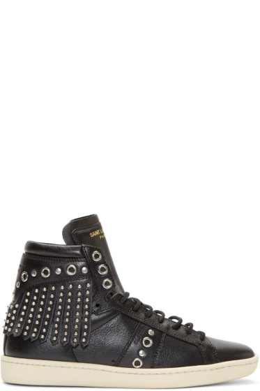 Saint Laurent - Black Leather Fringed High-Top Sneakers