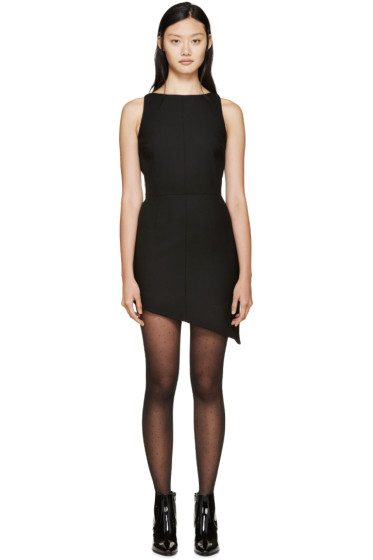Saint Laurent - Black Boatneck Asymetrical Wool Dress