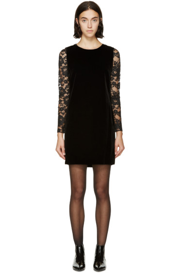 Saint Laurent - Black Velvet Lace Sleeve Dress