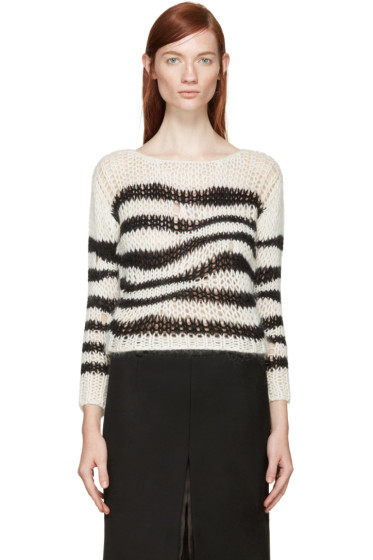 Saint Laurent - Black & White Striped Cropped Sweater